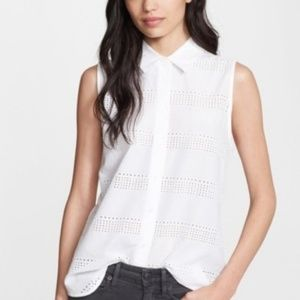 Equipment Colleen Eyelet Sleeveless Top Blouse